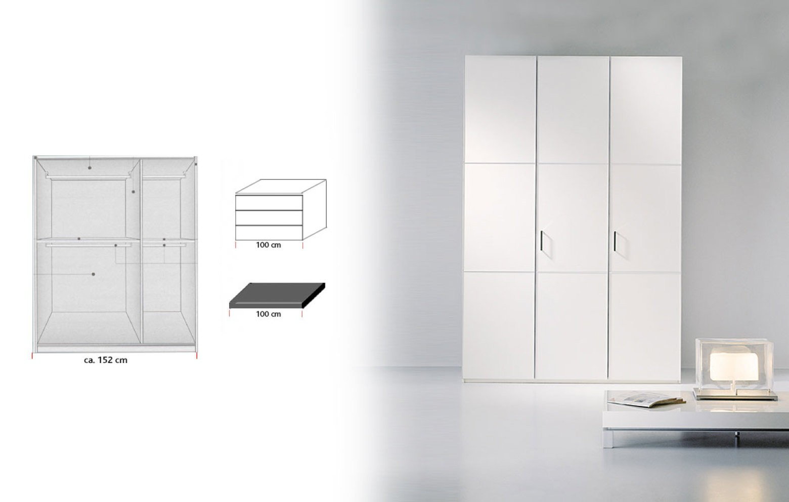Malerisch Kleiderschrank Mit Innenausstattung Foto Von Trio - 3 Türer, Innen